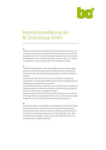 Datenschutzerklärung der BC Directgroup Gmbh