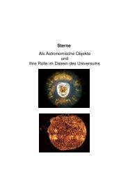 Sterne Als Astronomische Objekte und Ihre Rolle im Dasein des ...