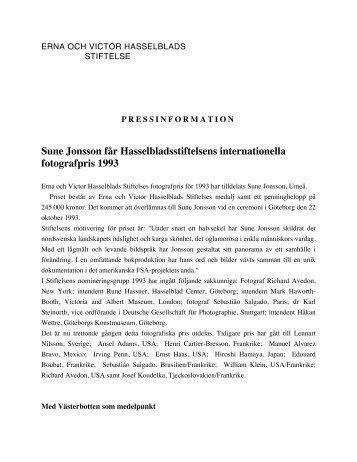 Pressrelease - Hasselblad Foundation