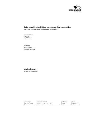 Externe veiligheid; QRA en verantwoording groepsrisico Opdrachtgever