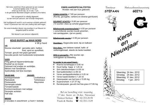Kerst Folder 2012 Traiteur Stefaan