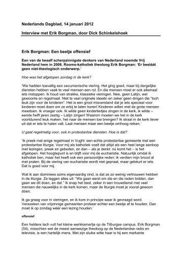 Nederlands Dagblad, 14 januari 2012 Interview met Erik Borgman ...