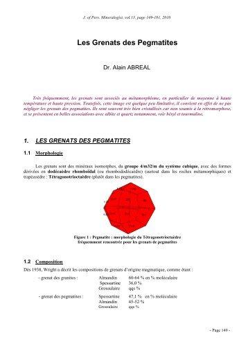 Les Grenats des Pegmatites - Page perso minéraux Alain ABREAL ...