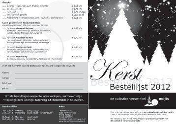 Bestellijst 2012 - Slagerij Nuijts