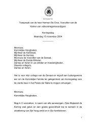 Toespraak van de heer Herman De Croo, Voorzitter van de Kamer ...