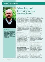 Behandling med TNF-hämmare vid reumatoid artrit
