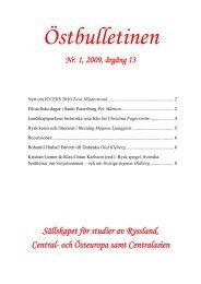Nr 1, april 2009 - Sällskapet för studier av Ryssland, Central