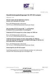 Gewährleistungsbedingungen für IST-UV-Lampen - IST METZ