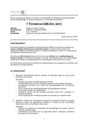1 TECHNICUS GIS-CEL (M/V) - Jobpunt Vlaanderen