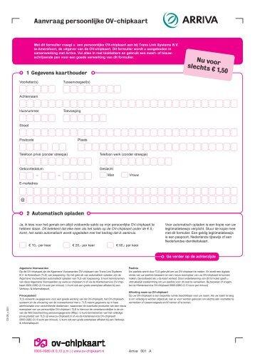 Aanvraag persoonlijke OV-chipkaart Nu voor slechts € 1,50 - Arriva
