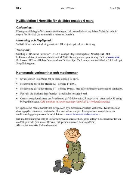 ULv kursorder 2013 mars - Luftvärnsförbundet