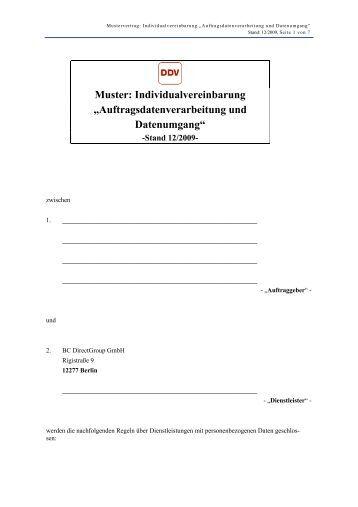 Muster: Individualvereinbarung ... - BC Directgroup Gmbh