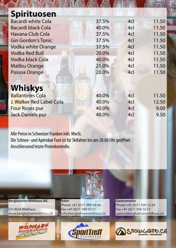 Spirituosen Whiskys - Bergbahnen Wildhaus