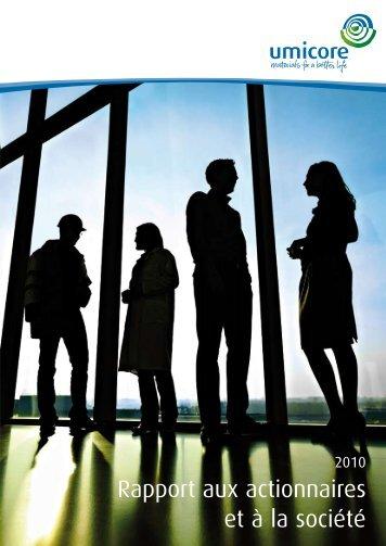 Rapport aux actionnaires et à la société - Umicore