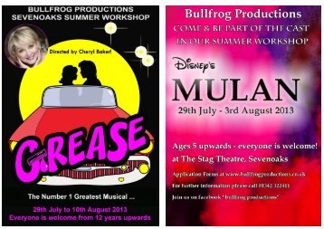 Mulan Sevenoaks Application Form - Bullfrog Productions