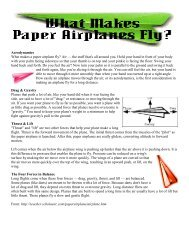 Aerodynamics What makes a paper airplane fly? Air — the stuff ...