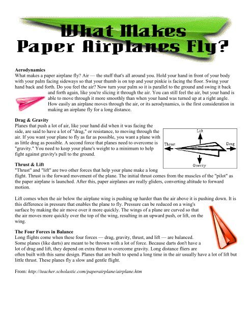 Aerodynamics What Makes A Paper Airplane Fly Air The