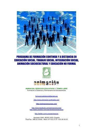 Catalogo cursos para educadores, trabajadores sociales, maestros, pedagogos, integradores