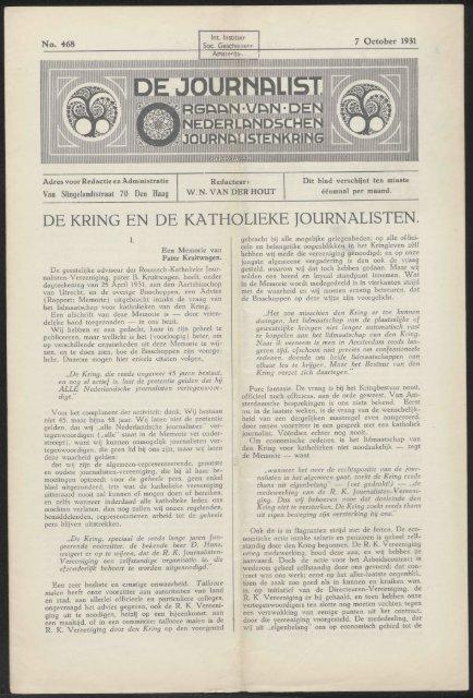 DE KRING EN DE KATHOLIEKE JOURNALISTEN.