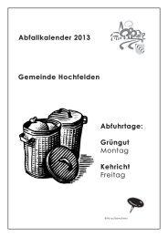 Abfallkalender 2013 Gemeinde Hochfelden Abfuhrtage: Grüngut ...