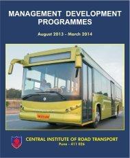 Training calender - Central Institute of Road Transport