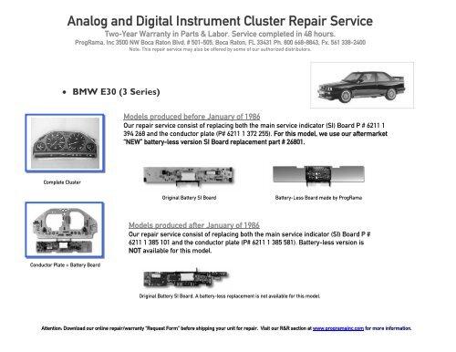 Analog and Digital Instrument Cluster Repair Service