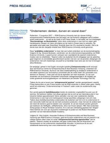 Ondernemen: denken, durven en vooral doen - Rotterdam School of ...