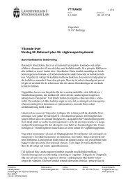 Yttrande över - Länsstyrelsen i Stockholms län