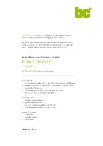 Produktionshilfen - BC Directgroup Gmbh