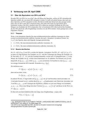 Page 1 Theoretische Informatik 2 Seite 26 / 142 5 Vorlesung vom 20 ...