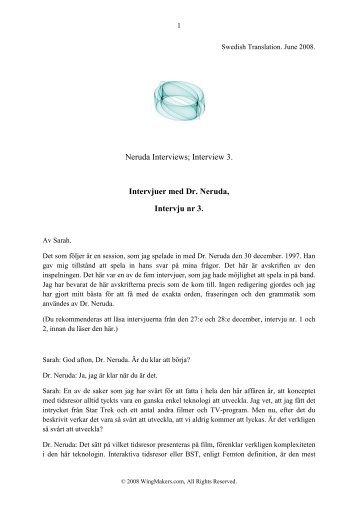 Intervju 3 med Dr. Neruda - Wingmakers.se