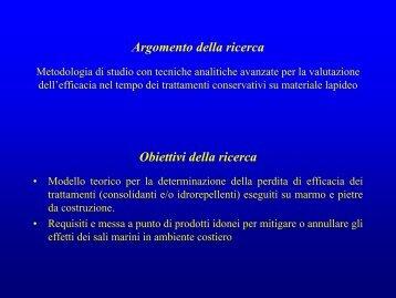 Argomento della ricerca Obiettivi della ricerca - Corila