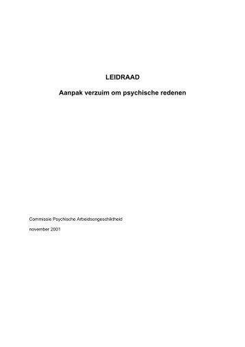 LEIDRAAD Aanpak verzuim om psychische redenen - Nederlandse ...