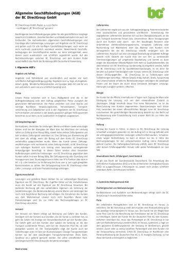 Allgemeine Geschäftsbedingungen (AGB) der BC Directgroup Gmbh