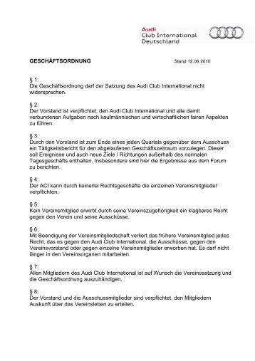 GESCHÄFTSORDNUNG § 1 - Audi Club International
