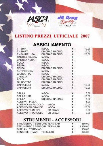 listino prezzi ufficiale 2007 abbigliamento strumenri - accessori