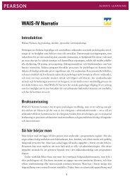 WAIS-IV Narrativ bruksanvisning - Pearson Assessment
