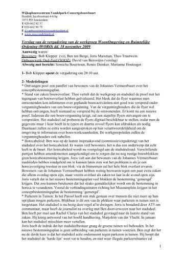 Verslag WORO 18 november 2009 - Wijkcentrum Vondelpark ...