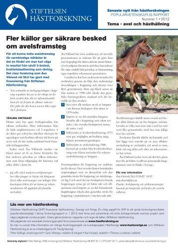 Populärvetenskaplig rapport 1/2012 - SHF