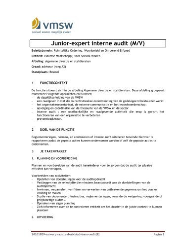 Junior-expert interne audit (M/V) - Jobpunt Vlaanderen
