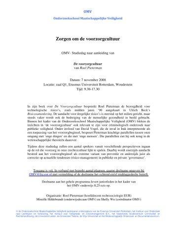 Zorgen om de voorzorgcultuur - Erasmus centrum voor recht en ...