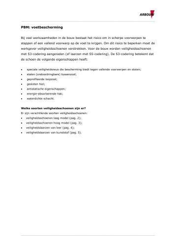 PBM: voetbescherming - Arbouw