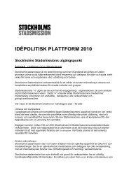 IDÉPOLITISK PLATTFORM 2010 - Stockholms Stadsmission