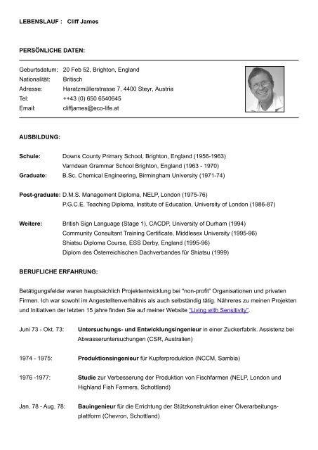 Lebenslauf Cliff James Persönliche Daten Geburtsdatum