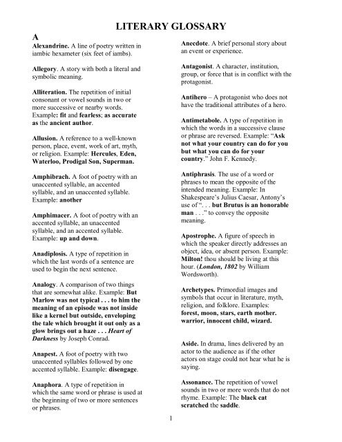 LITERARY GLOSSARY pdf - Helena High School