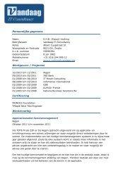 Persoonlijke gegevens Werkgevers / Projecten ... - Vandaag.net