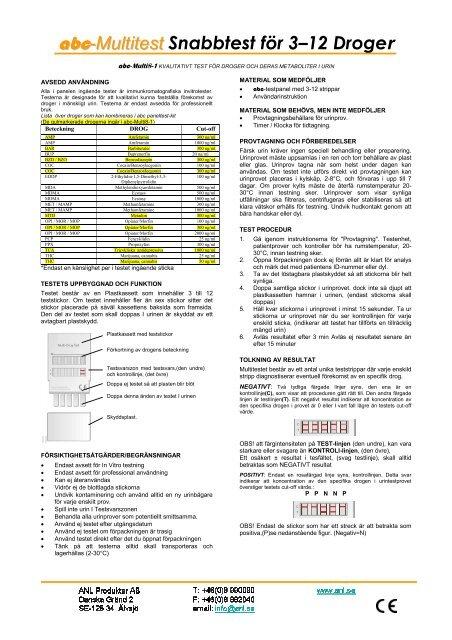 abc-Multitest Snabbtest för 3–12 Droger - ANL Produkter AB