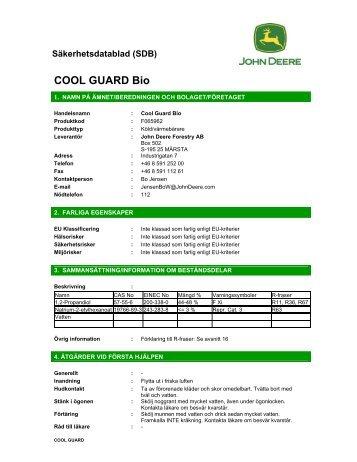 Säkerhetsdatablad Cool-Gard Bio kylvätska - OP maskiner ab.