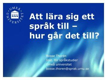 Länk till Bosses presentation - Umeå universitet
