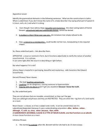 Appositive worksheet pdf
